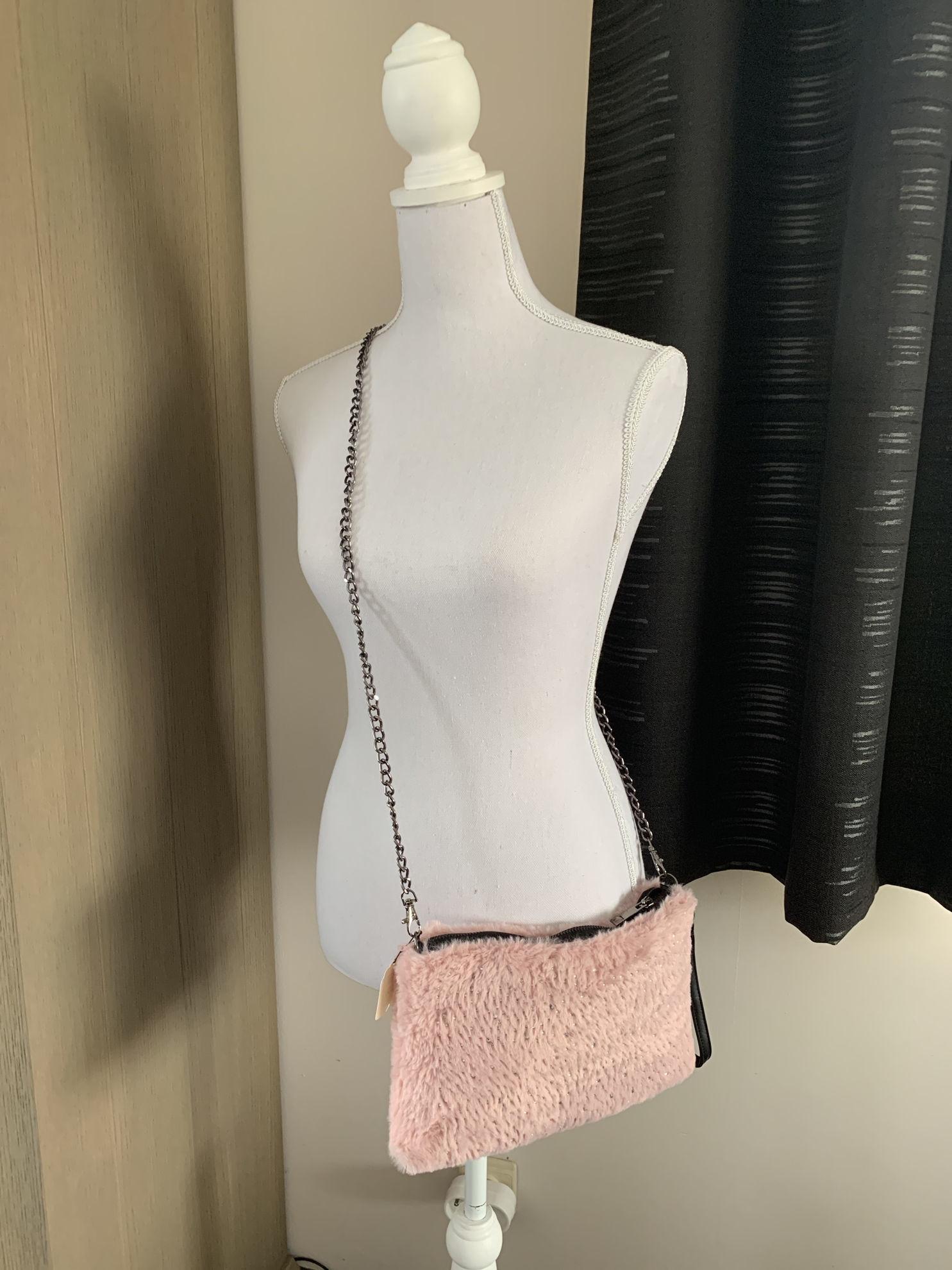 Afbeeldingen van Bont tasje met steentjes roze
