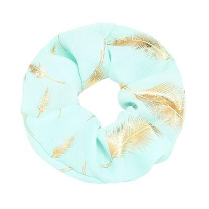 Afbeeldingen van Scrunchie Golden Feather - Appelblauwzeegroen